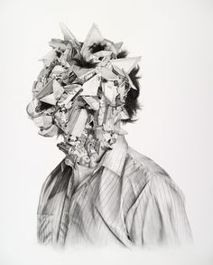 Chris Scarborough. Untitled (Portrait). Graphite and Watercolor on Paper, 36.87 x 30 inches  2009