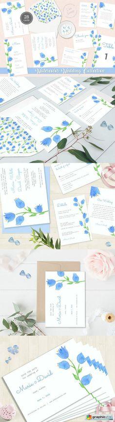 Bellflower Watercolor Wedding Suite  stock images