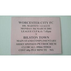 Worcester City v Bilston Town 2000/2001 Football Ticket Stub Non League Listing in the Non- League,English Club Leagues & Cups,Ticket Stubs,Football (Soccer),Memorabilia & Fan Store,Sport Memorabilia & Cards Category on eBid United Kingdom | 144985487