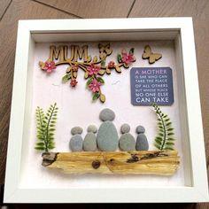 Pebble Art mum frame Mother's Day gift gift for mum Birthday Presents For Mum, Mothers Day Presents, Gifts For Mum, Christmas Presents, Pebble Pictures, Stone Pictures, Mother's Day Gifts Online, Mother's Day Projects, Teachers Day Gifts