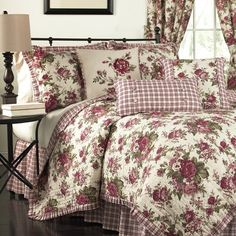 Refresh your bedroom with the Waverly Norfolk Reversible Quilt Collection. This traditional ensemble features large-scale crimson cabbage roses on a cream ground. Queen Bedding Sets, Comforter Sets, King Comforter, Country Bedding Sets, Red Bedding Sets, Bedding Master Bedroom, Bedroom Decor, Bedroom Ideas, Ikea Bedroom