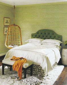 Great grasscloth wallpaper and love this bedroom.