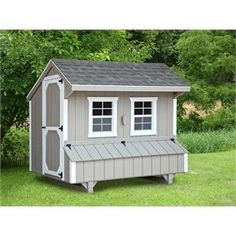 This by chicken coop will support up to 24 chickens. Featuring Amish design and construction, this backyard chicken coop is painted a light gray with white trim. Enjoy fresh eggs and family fun with this quality chicken coop!