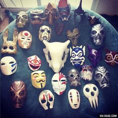 I saw this on 9gag's instagram, anyone knows all the masks? Didn't find it there.