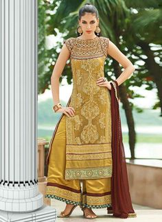 Mustard Embroidered Georgette Sharara Suit