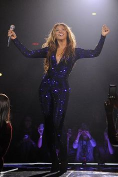 Beyoncé wearing an amazing Vrettos Vrettakos Swarovski embellished blue jump suit on The Mrs. Carter Show World Tour Courtesy photo