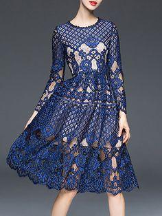 Shop Midi Dresses - Lace A-line Elegant Long Sleeve Crew Neck Midi Dress online…