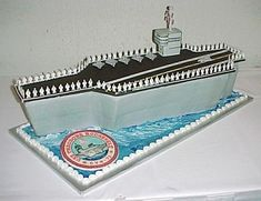 Awesome Aircraft Carrier Cake. My friend's son is going into the Navy. Perfect for his farewell!!