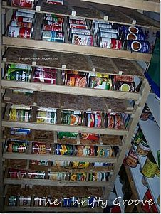 A fun way to organize your craft room! & How To Build A Rotating Canned Food Storage System | Pinterest ...