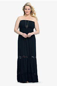 Black Crochet Trim Challis Maxi Dress | Dresses
