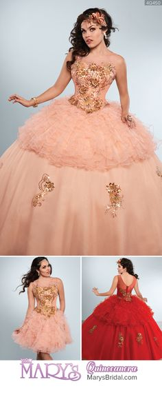 Style 4Q450: 2 piece tulle quinceanera ball gown with gold embroidery and sequin applique, bateau neck line, V-back, back with zipper and buttons, and matching bolero. The gown may be worn with the short ruffled skirt by itself or on top of the detachable long skirt. From Mary's Quinceanera Fall 2016 Princess Collection