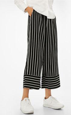 Striped culottes  Trousers  Bershka United Kingdom