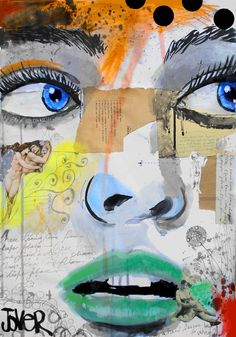 """Saatchi Online Artist: Loui Jover; Painting, Assemblage / Collage """"these tears come from a deeper place"""""""