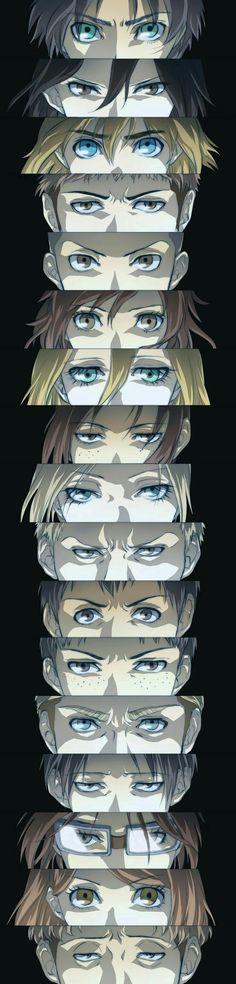 Eren, Mikasa, Armin, Jean, Connie, Sasha, Historia, Ymir, Ani, Reiner, Bertolt, Marco, Erwin, Levi, Hanji, Petra, and Auro