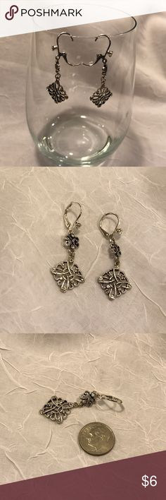 "Silver drop earrings About 2 3/4"" drop Jewelry Earrings"