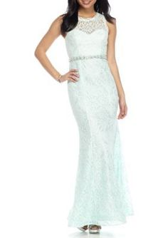 sequin hearts SeafoamSilver Lace Gown