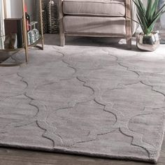 nuLOOM Handmade Abstract Raised Trellis Wool Grey Rug (4' x 6') | Overstock.com Shopping - The Best Deals on 3x5 - 4x6 Rugs