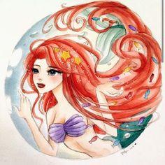 Ariel The Little Mermaid watercolor painting