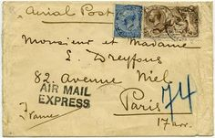 "Airmail letter to Paris with ""Air Mail Express"" cachet"
