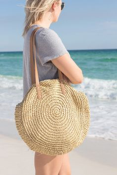 Beach Bag Trends for Summer 2018 - Prada Corsaire Bag - Ideas of Prada Corsaire Bag - Beach Bag Trends for Summer 2018 round straw beach bag Jamie Kamber Straw Handbags, Round Bag, Round Straw Bag, Cute Boutiques, Crochet Handbags, Summer Bags, Summer Time, Knitted Bags, One Piece Swimwear