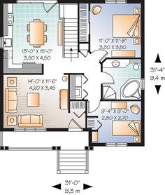 First Floor Plan of Bungalow   Country   Traditional   House Plan 76183
