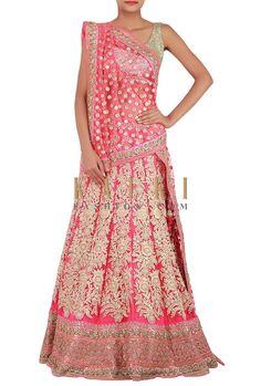 Buy Online from the link below. We ship worldwide (Free Shipping over US$100) http://www.kalkifashion.com/pink-lehenga-enhanced-in-zari-embroidery-and-pearl-only-on-kalki.html