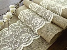 table runner with ivory lace, rustic chic , romantic or vintage wedding , handmade in the USA