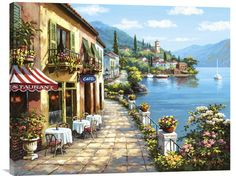 Buy inspirational Feng Shui horizontal wall art painting Overlook Cafe by Sung Kim from our seascape wall art paintings collection. This positive energy ready-to-hang stretched giclee is printed on hi