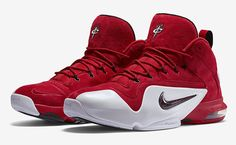 """NIKE PENNY 6 """"RED SUEDE"""" COLOR: UNIVERSITY RED/BLACK-WHITE RELEASE DATE: 08/07/15 PRICE: $185 @LaceMeUpNews"""