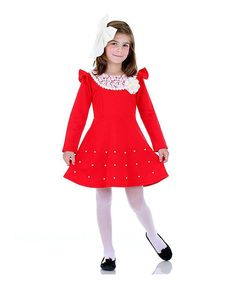 Look at this #zulilyfind! Red Lace-Collar Angel-Sleeve Dress - Girls by Dolce Liya #zulilyfinds
