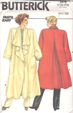 Butterick 3476 1980s Misses Draped Cascade Swing Coat by mbchills