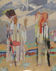 mural0010. [Depicts 2 Blackfoot men in ceremonial garb. JE]