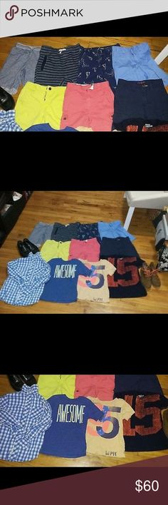 Lot of J.crewcuts Zara Cole Haan boys sz 4/5 to 7 Lot of boys clothes so range from 4/5 to 7  1.Zara shorts 5/6 sz7  2.stripe short crew cuts sz 7  3.osh kosh boat anchor shorts sz7  4.nautica shorts sz7  5 . Cherokee shorts sz7  6.polo red shorts sz7  7.izod shorts  8.Cherokee gingham button down shirt 6/7 sz small  9.gap kids sz xs 4/5 awesome t-shirt  10.crewcuts t-shirt sz4/5  11.crewcuts navy orange t-shirt sz 6/7  12.sperry black loafers sz 1.5  13.cole haan brown shoes orange laces sz…