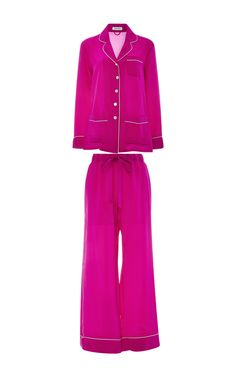 Gigi Long Sleeved Silk Pajamas Set  by OLIVIA VON HALLE Now Available on Moda Operandi