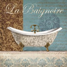 La Baignoire Art Poster Print by Conrad Knutsen, Bathroom Prints, Bathroom Wall Art, Bathroom Paintings, Small Bathroom, Poster Wall, Poster Prints, Bathroom Images, Bathroom Ideas, Decoupage Paper