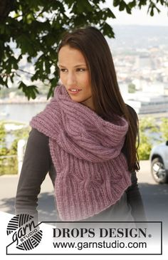 "Free pattern: Knitted DROPS scarf with cables in 2 threads ""Kid-Silk""."
