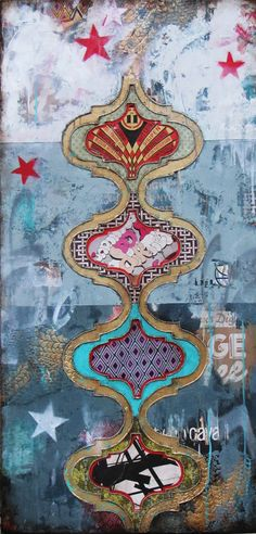 Jill Ricci--2013..Freedom, mixed media on canvas, 24x48