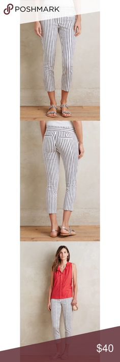 "Anthropologie Cartonnier Charlie Capri Trouser Sateen Charlie Trousers  BRAND NEW WITHOUT TAGS  Color: White  RETAIL PRICE IS $98.00  96% Cotton, 4% Spandex  Machine Wash in Cold Water  Imported  Front, back welt pockets  Front zip with double button closure  Belt loops  Unlined  Inseam for the Regular sizes: 25 1/2""- 26""  Soft and lightweight  Versatile  Slightly stretchy material  Low Waist-14 1/2""  8"" rise Anthropologie Pants Capris"