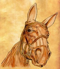 War horse puppet. Watercolour and ink study.