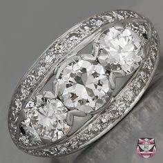 Vintage Diamond Engagement Ring - Certified Three Stone European-cut Diamond Suggested Retail $22,700.....This looks like the ring from my dream!