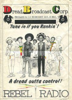 Dread Broadcasting Corporation, London A London pirate radio station of the late Reggae Rasta, Reggae Music, Champion System, Bob Marley Pictures, Shirt Logo Design, Ska Punk, Dancehall Reggae, Retro Tattoos, Concert Posters