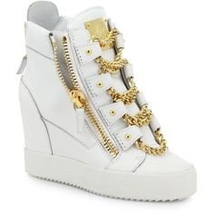 Giuseppe Zanotti Chains Leather Wedge High-Top Sneakers ($1,275) ❤ liked on Polyvore featuring shoes, sneakers, apparel & accessories, white, wedge sneakers, high top platform sneakers, leather wedge sneakers, giuseppe zanotti sneakers and wedges shoes