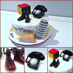 Keepsake Cake with a collection of edible 3D cake figures, Doc Martins, Rubix cube, tower of Pisa, cheese, old school rotary phone:) Inside was a Limoncello cake- super moist and delish!