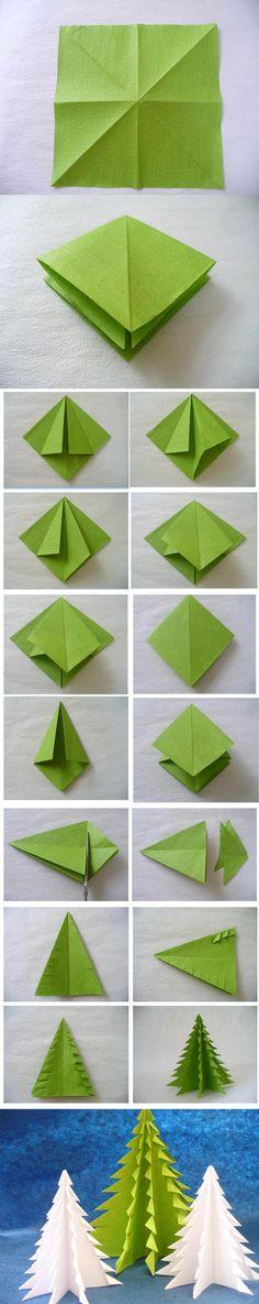 Arboles de Navidad con origami | Christmas tree origami / Via www.beadandcord.com