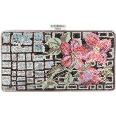 Pre-owned Judith Leiber Embellished Floral Minaudi?re ($795) ❤ liked on Polyvore featuring bags, handbags, clutches, black, chain strap purse, change purse, snake purse, floral purse and colorful purses