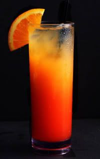Tequilla Sunrise  cheers www.voltvacations.com  2 oz Tequila  4 oz Orange Juice  0.75 oz Grenadine    Recipe:   1.Shake the orange juice and the tequila in a shaker.   2.Pour into a highball glass half filled with ice.   3.Carefully add grenadine syrup so that it fall at the bottom of the glass.   4.Stir a bit to create a nice degrade.   5.Garnish with an orange slice