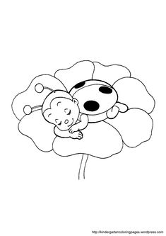 Ladybug Coloring Pages   ladybug on flower coloring page
