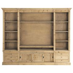 Mueble de salón biblioteca de madera maciza reciclada An. 264 cm Passy