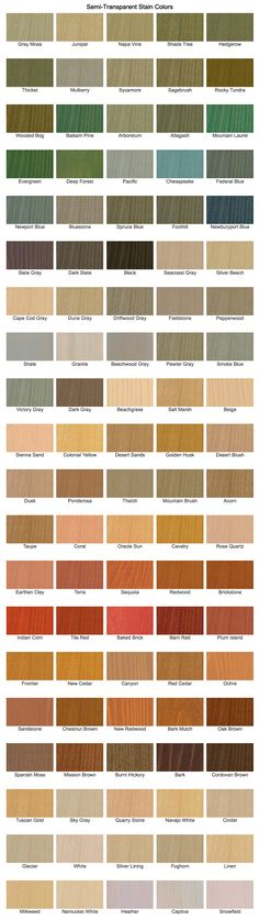 Cabot Stain offers a multitude of Semi Transparent Colors http://www.cabotstain.com/products/product/Semi-Transparent-Siding-and-Fence.html