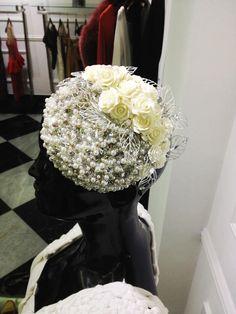 Pearls and silk roses headband by Oscar Daniel
